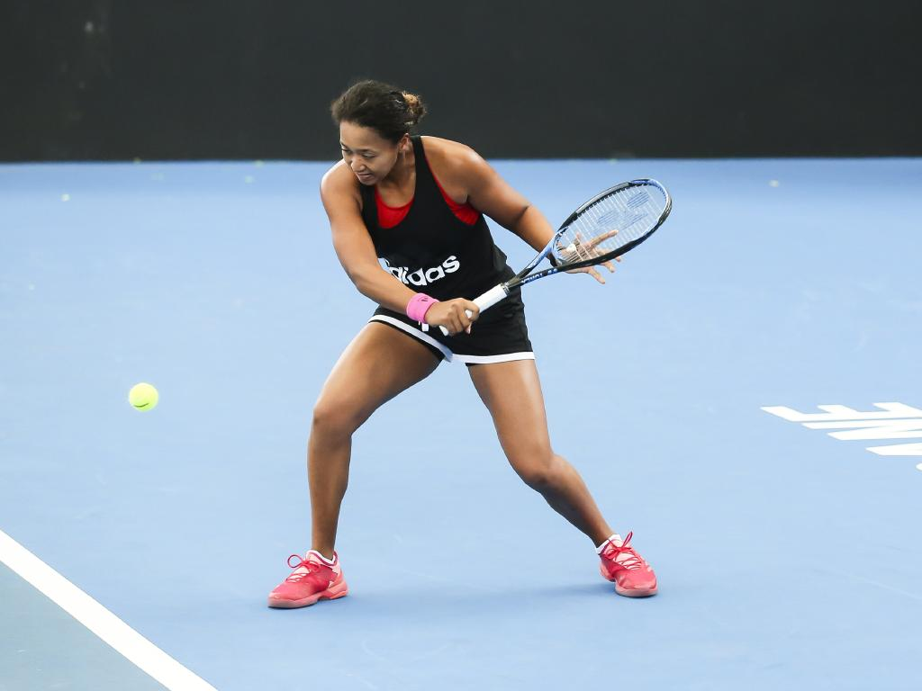 Naomi Osaka hits up at the Queensland Tennis Centre. Picture: Mark Cranitch