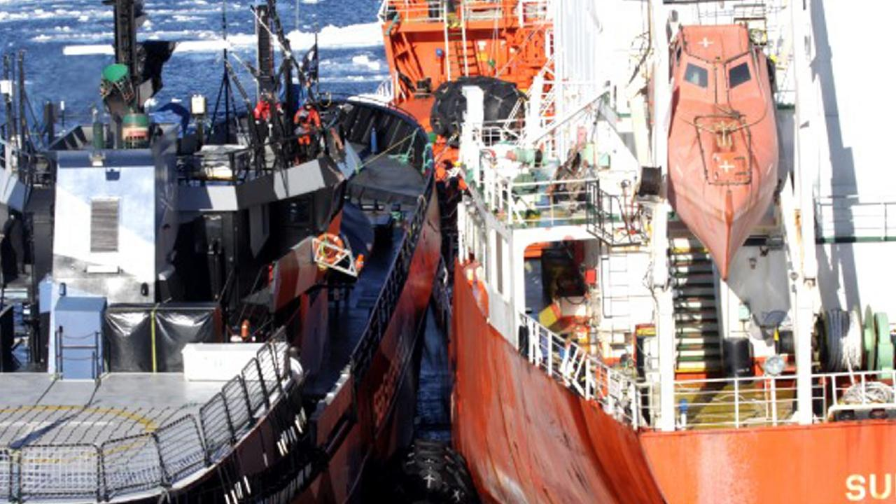 Sea Shepherd's the Bob Barker, left, and the fuel tanker Sun Laurel, right, of Japanese whaling vessel Nisshin Maru, collide in waters near Antarctica. Picture: The Institute of Cetacean Research/AP