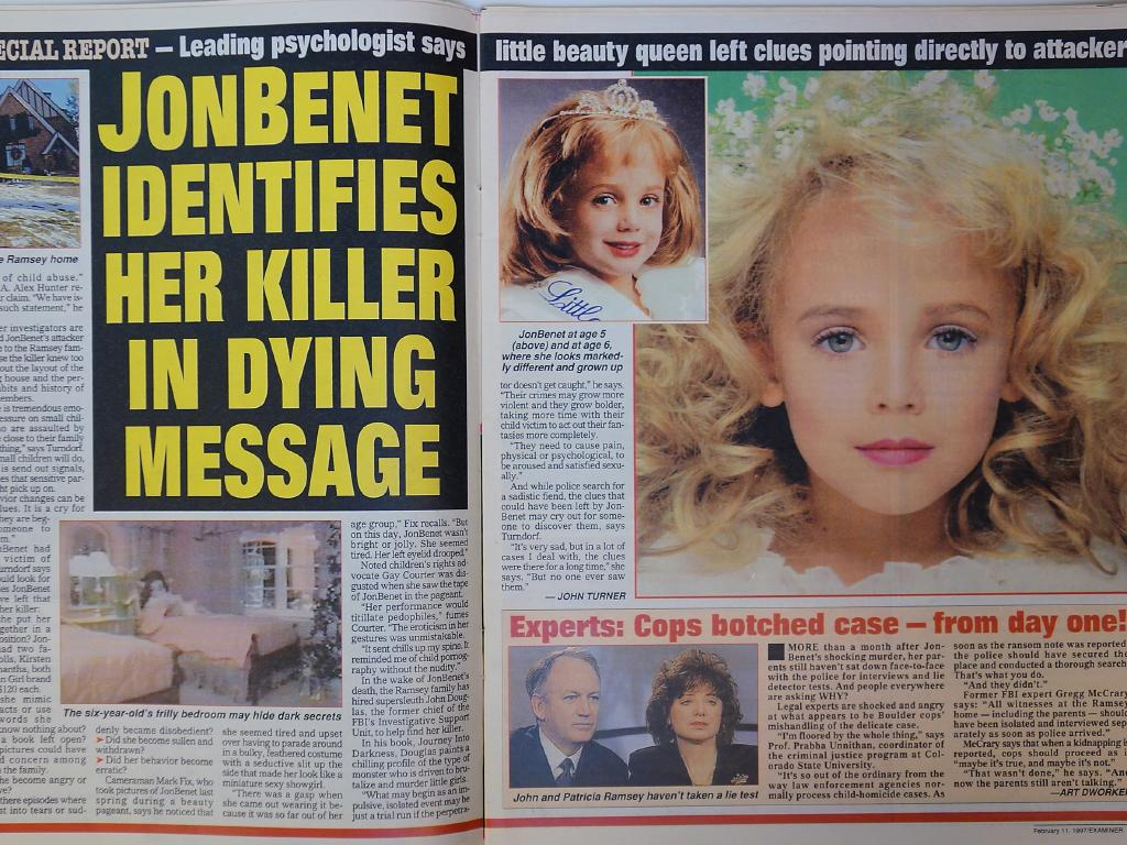 The tabloids were instantly obsessed with JonBenet's tragedy, with one magazine banned in Boulder.