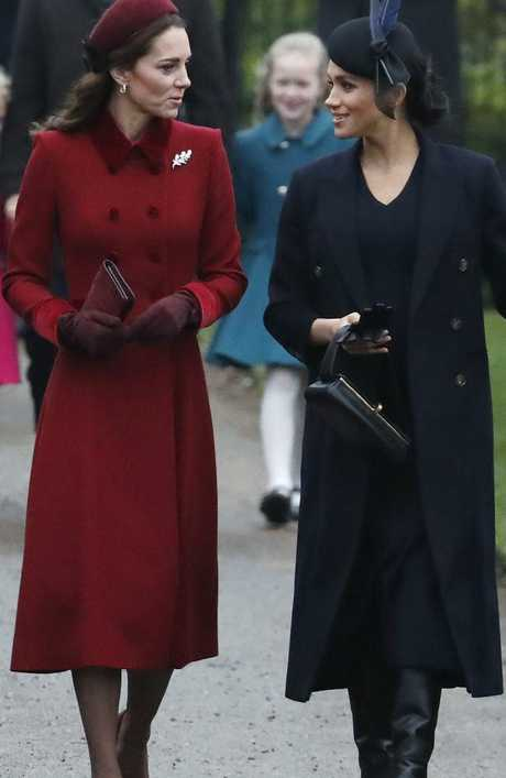 Kate Middleton and Meghan Markle were side-by-side on the way to church.