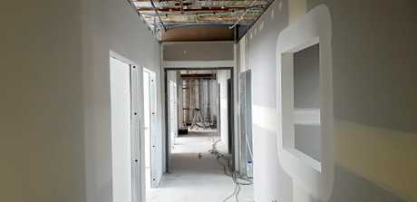 Work progressing on the Maryborough hospital, with the hallways under construction.