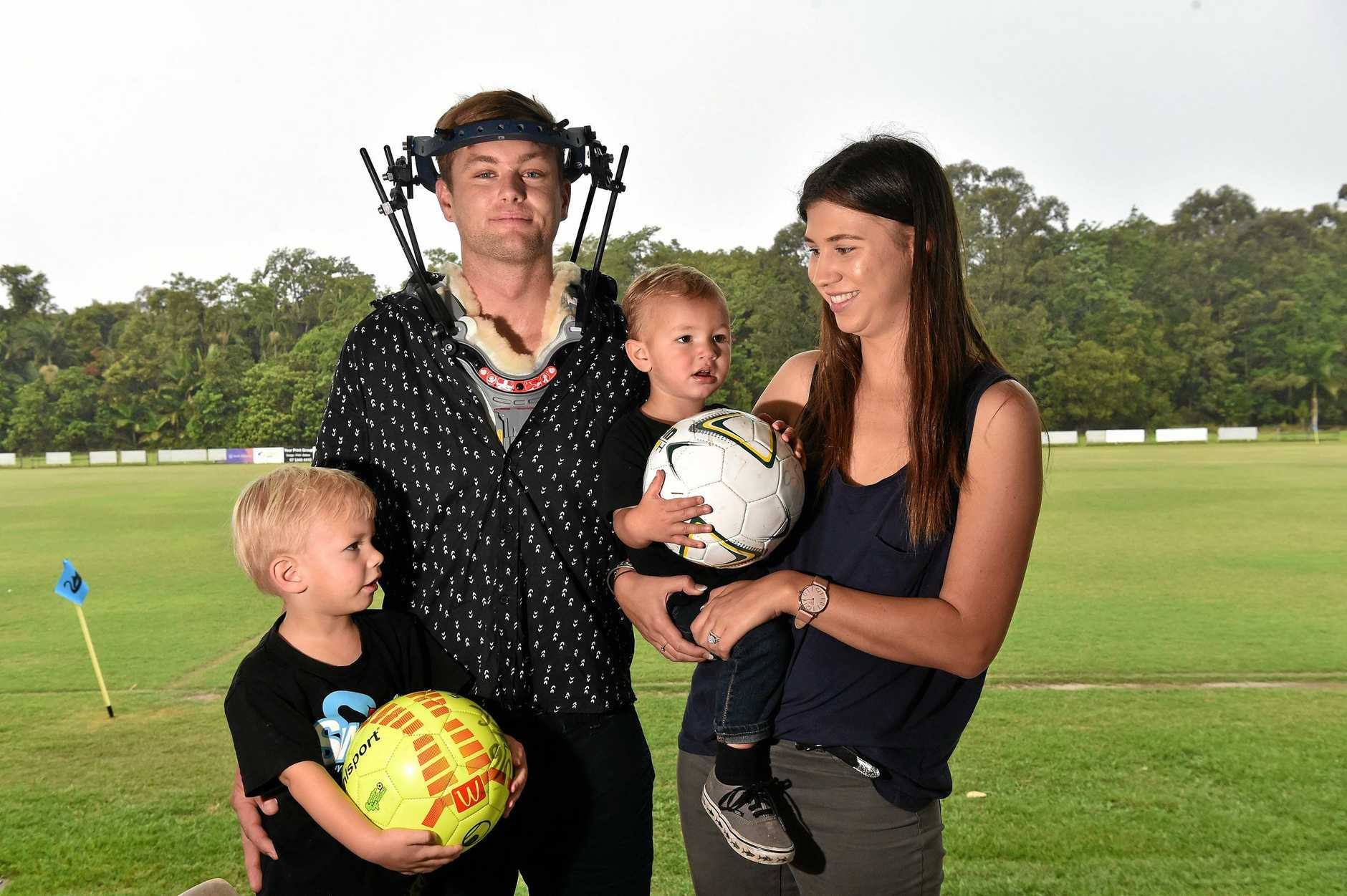 A major fundraiser has been organised for Tim Cornthwaite and his family after Tim broke his neck at his bucks party.Luca,2, (left) and Theo,15 months, are looking forward to the match with their dad Tim and mum Chloe.
