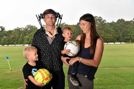 Tim Cornthwaite and his family after Tim broke his neck.