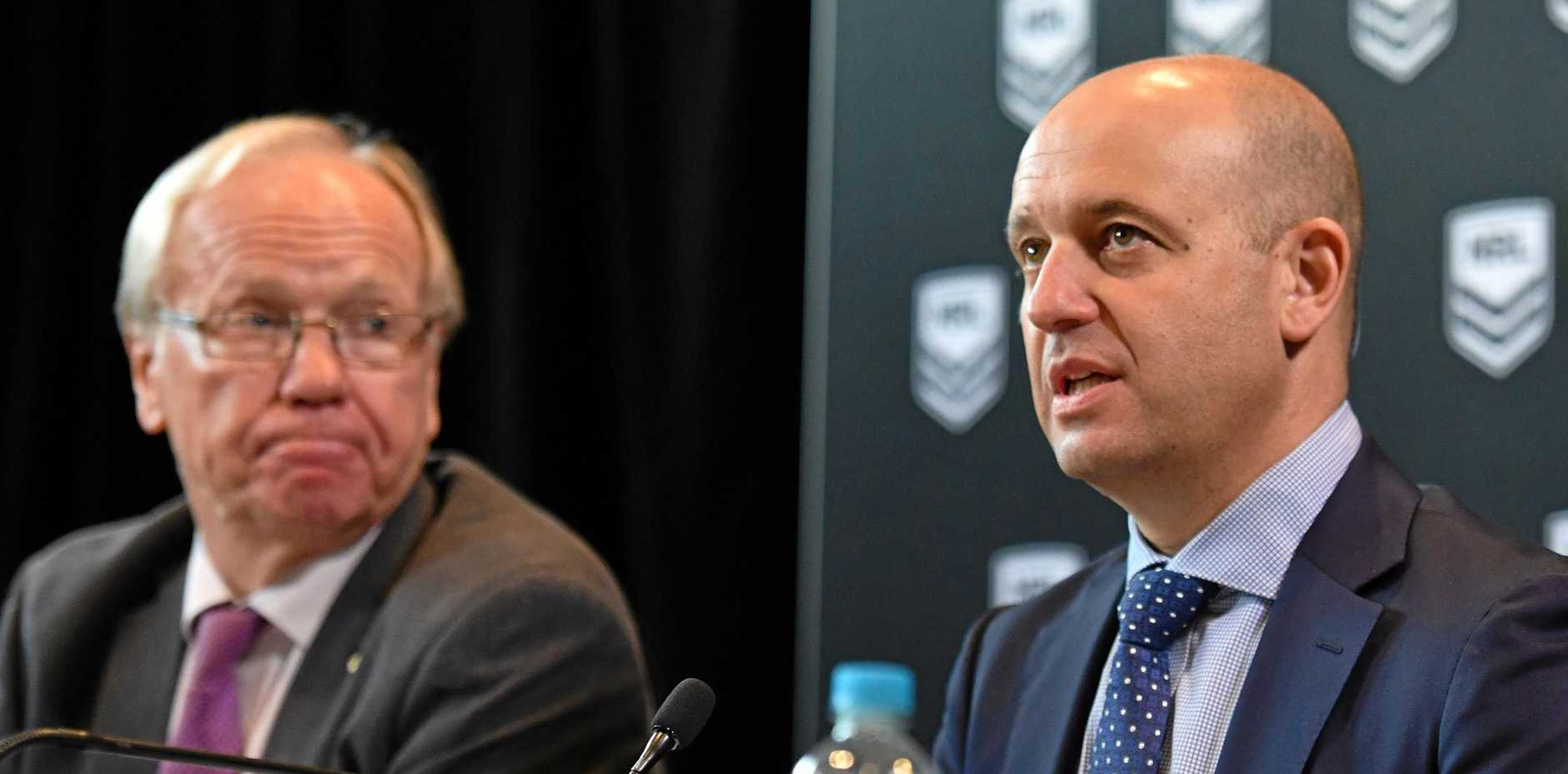PRESS CONFERENCE: ARL Commission Chairman Peter Beattie and NRL CEO Todd Greenberg at a press conference at NRL headquarters in Sydney on December 13.
