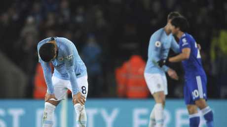 Manchester City's Ilkay Gundogan reacts