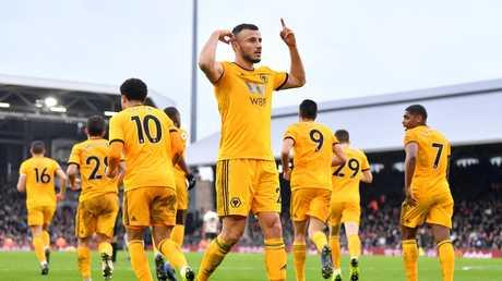 Romain Saiss of Wolverhampton Wanderers celebrates