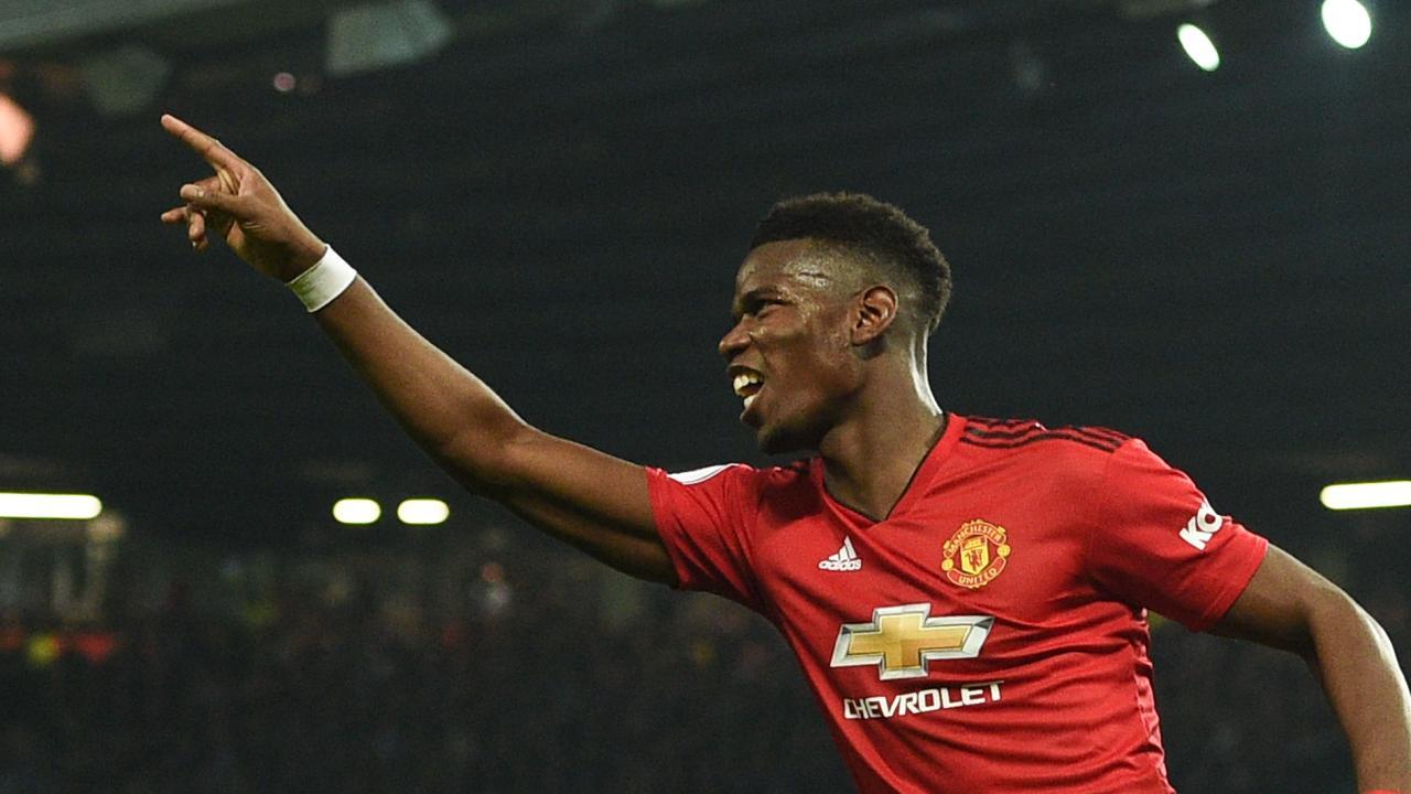 Manchester United's French midfielder Paul Pogba celebrates scoring