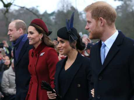 What rift? Wills, Kate, Meghan and Harry put on a show for royal watchers on Christmas Day. Picture: Getty Images