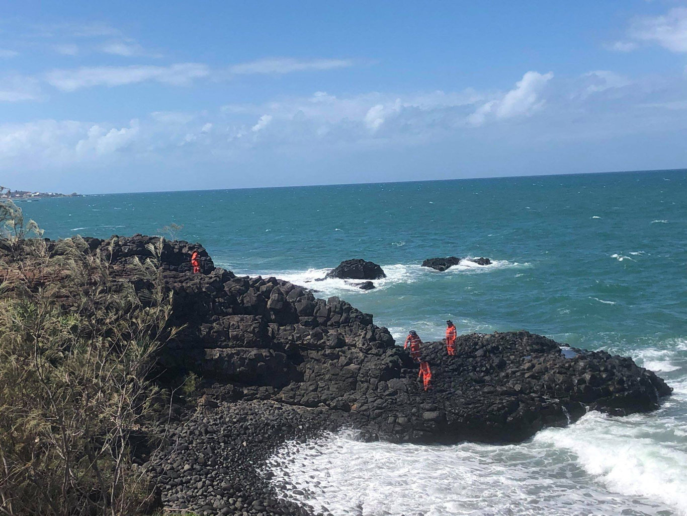 Police and SES volunteers are searching the coastline at Elliott Heads, looking for more suspicious packages that may have washed up.