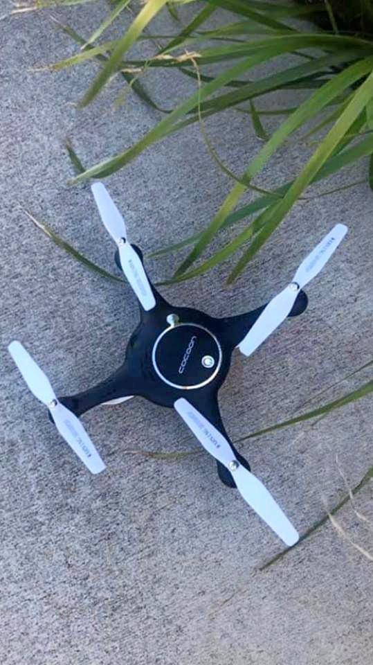 LOST AND FOUND: A Bargara woman stumbled across the lost drone on Boxing Day.With her hands full she grabbed a quick pic and posted it online.