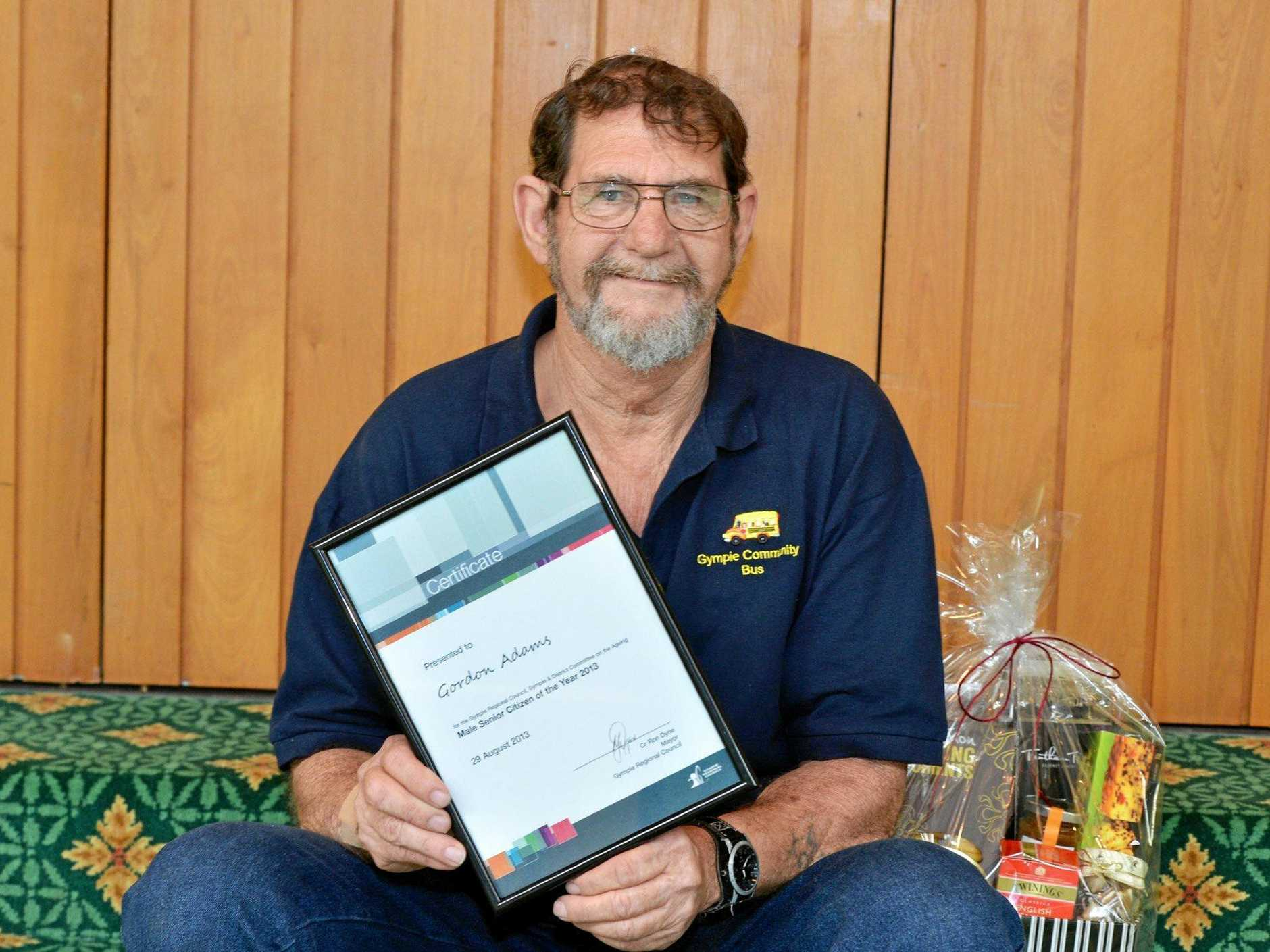 Former Gympie Senior Citizen of the Year Gordon Adams was jailed in July for the rape and repeated sexual assault of a nine-year-old girl.