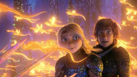 Astrid (voiced by America Ferrera) and Hiccup (voiced by Jay Baruchel) in a scene from the movie How to Train Your Dragon: The Hidden World. Supplied by Universal Pictures.