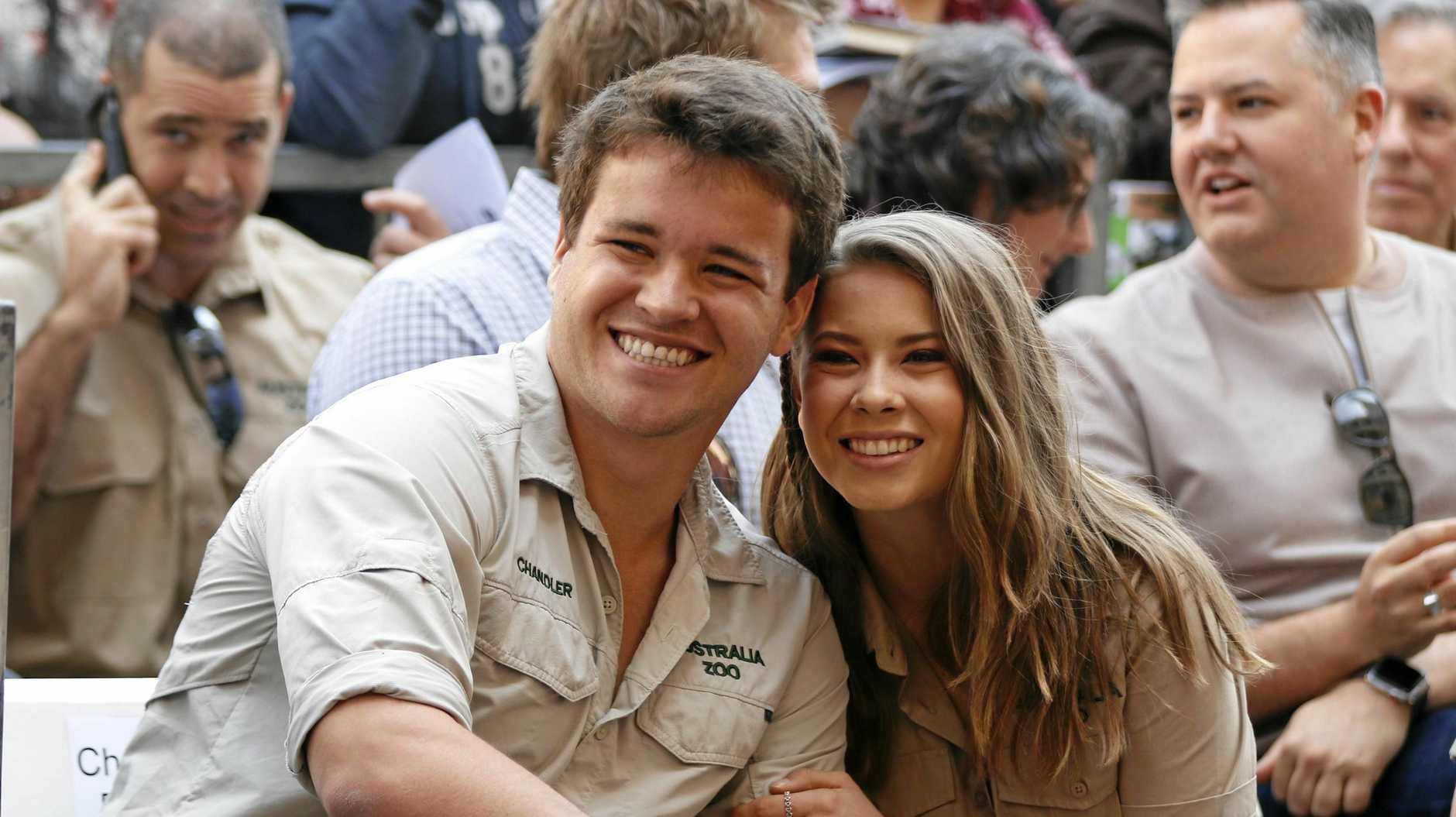 Chandler Powell, left, and Bindi Irwin appear at a ceremony honoring the late Steve Irwin with a star on the Hollywood Walk of Fame on Thursday, April 26, 2018, in Los Angeles. (Photo by Willy Sanjuan/Invision/AP)