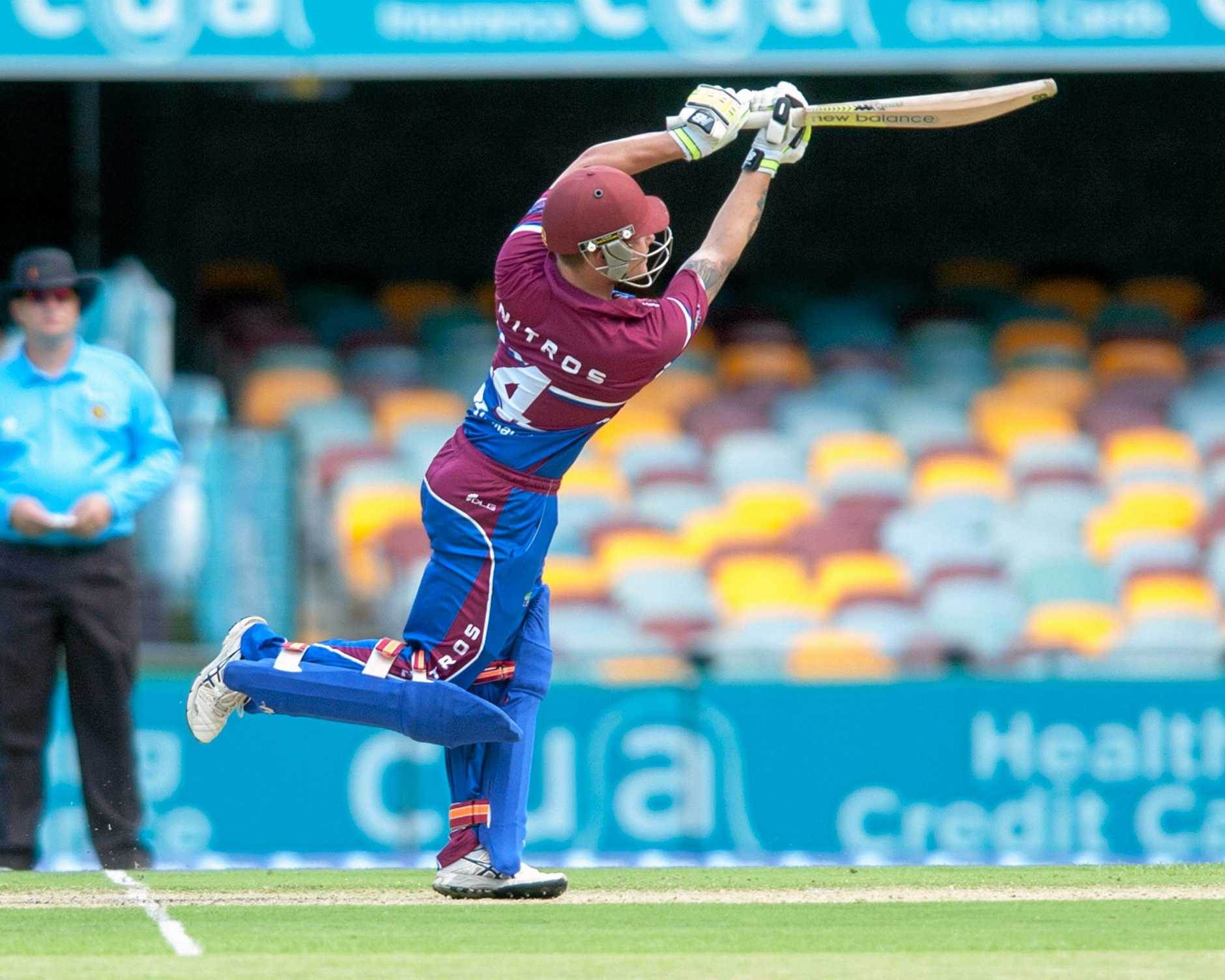 Mackay's Mitchell English playing in the Bulls Masters Country Challenge final at the Gabba on Wednesday, December 27, 2017. ***Must use Bob Jones' byline if using pic***