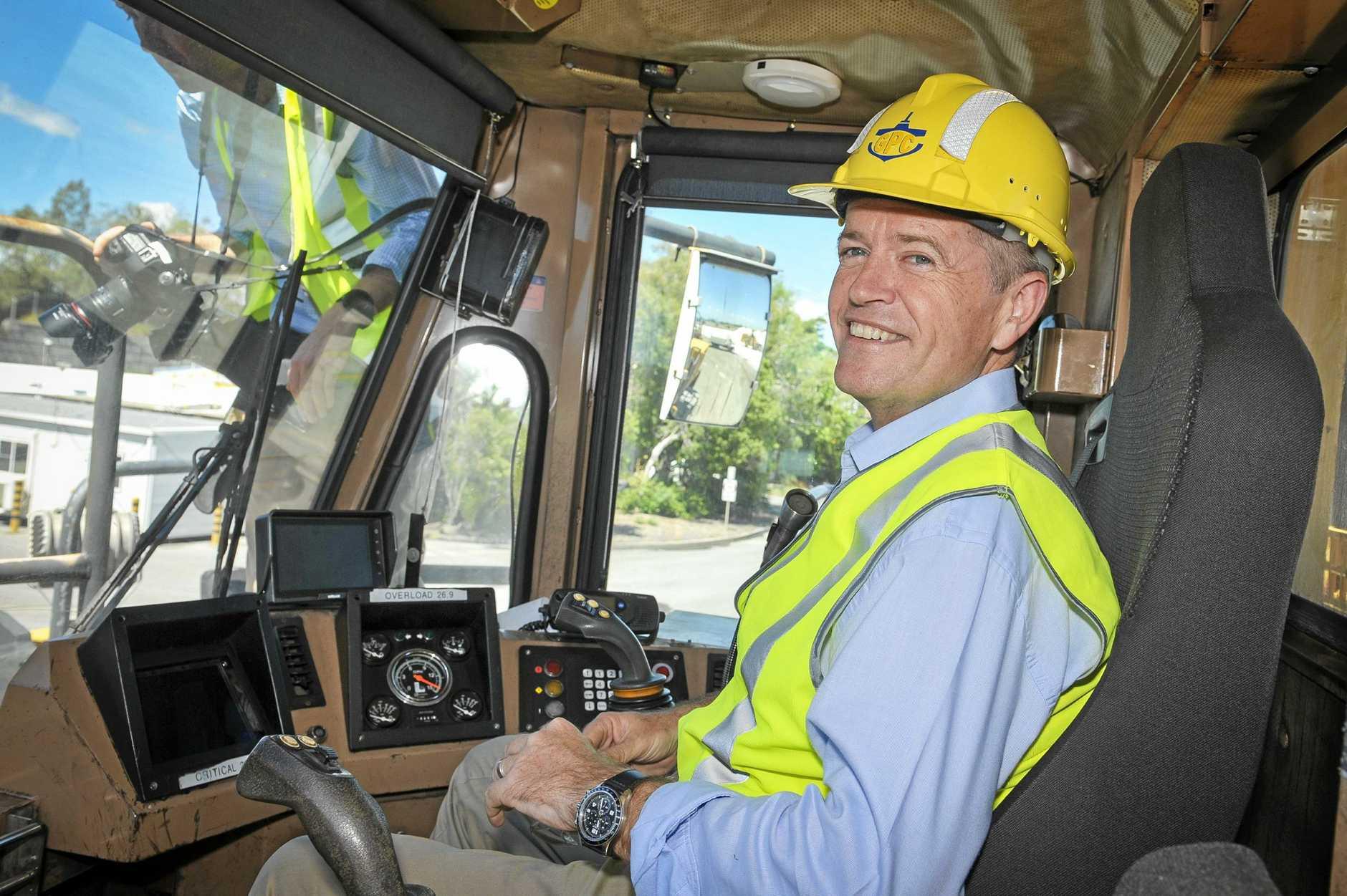 Opposition Leader Bill Shorten visits Barney Point Coal Terminal in Gladstone.