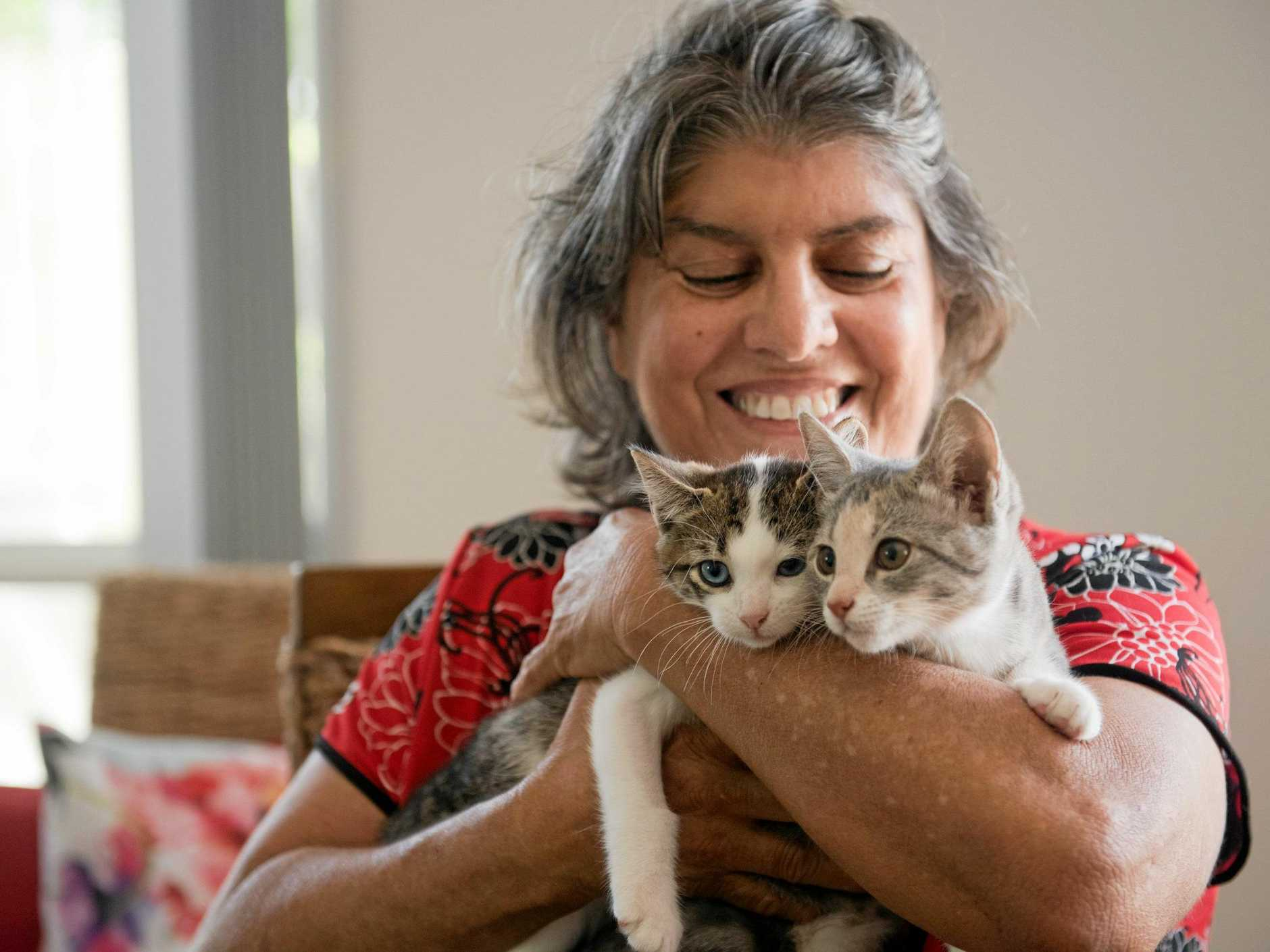 Animal rescue volunteer Robin Morgan with kittens Bamm Bamm and Pebbles, who have bonded since they met each other in foster care.