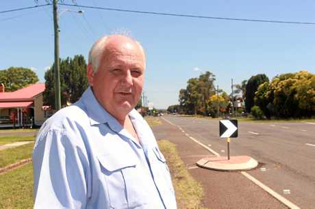 ROAD RAGE: Allora resident Brett Bender fears the new road-narrowing islands on Forde St could cause a collision between passing vehicles.