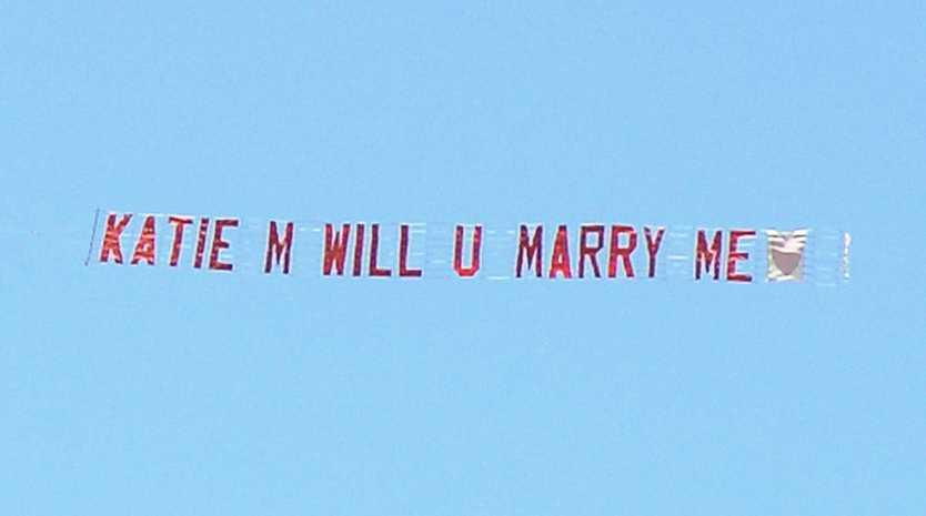 Proposal to Katie M via aeroplane banner.