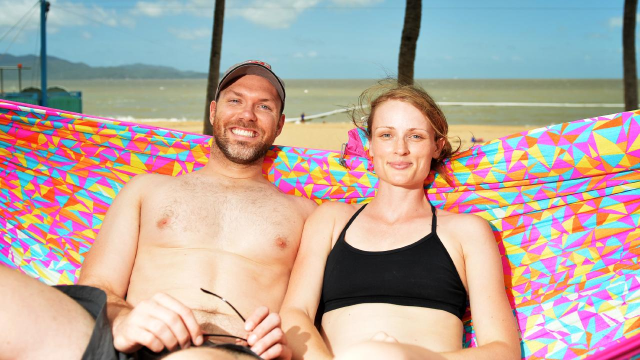 Luke Purcell and Clair Maurice, from Sydney, enjoy Townsville's fine conditions.