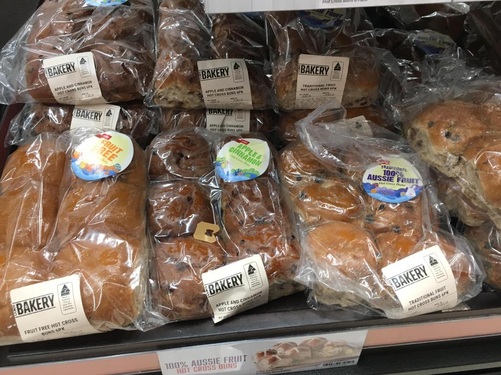 Hot cross buns for sale at Coles just days after Christmas.