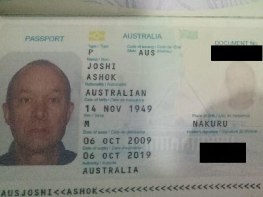 Redacted version of Australian man Joshi Ashok's passport. Picture: Supplied