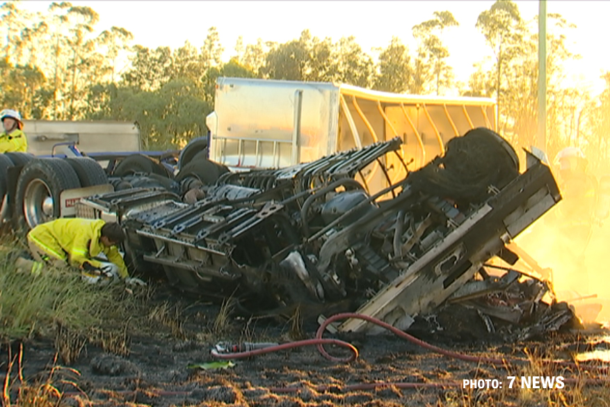 Emergency services at the scene of a fatal crash on the Gore Hwy involving two trucks, Thursday, December 27, 2018. PHOTO: 7 NEWS