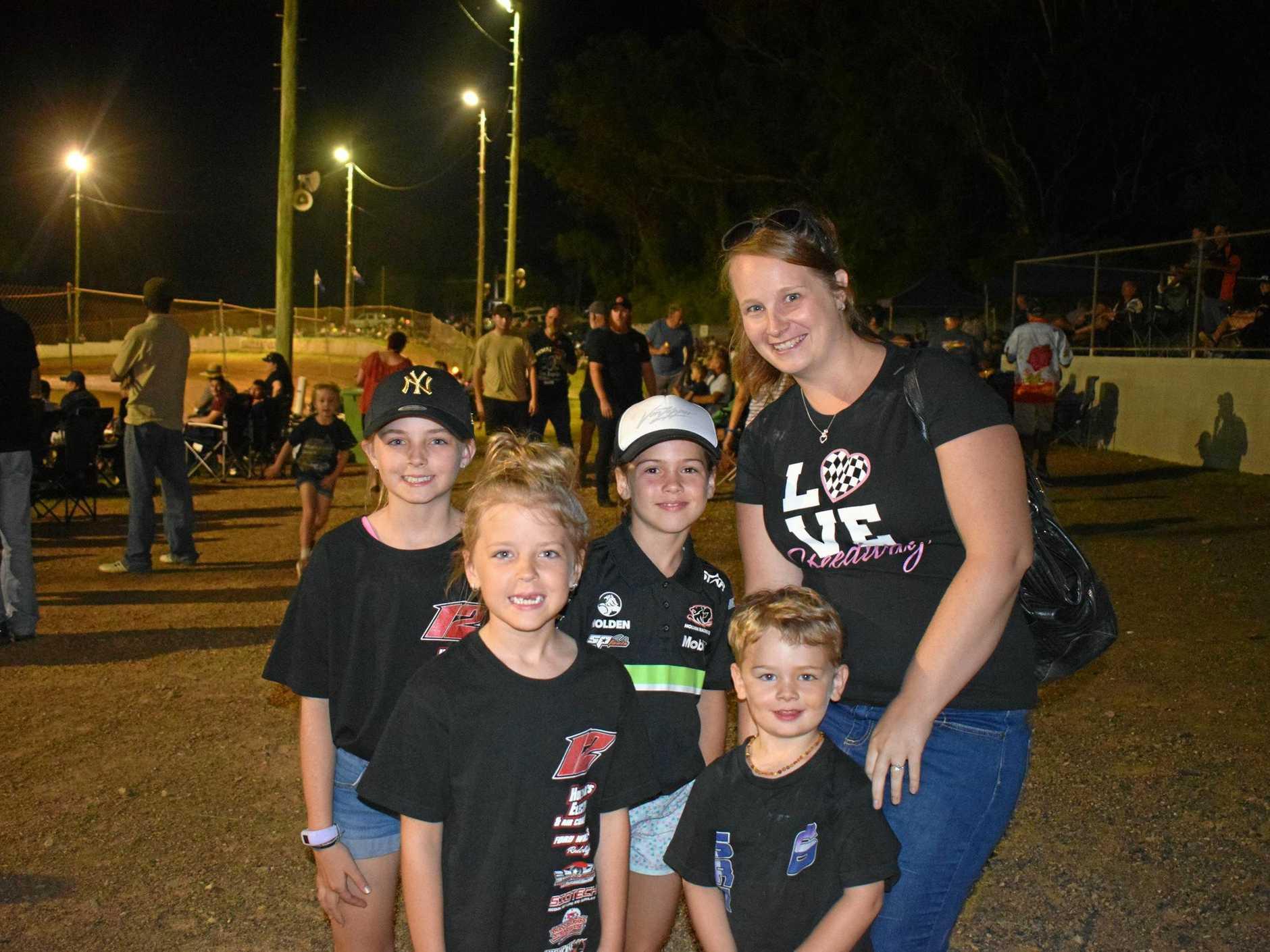 REV HEADS: Lili Hollyman, Reegan Hollyman, Emily Steffens, Elijah Raymont and Amy Strahl enjoy the speedway at Mothar Mountain.