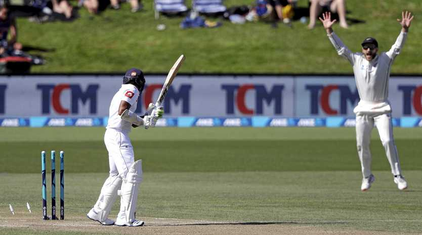 Sri Lanka's Niroshan Dickwella surveys the damage after being bowled on day four of the second Test against New Zealand, at Hagley Oval, Christchurch.  Picture: Mark Baker/AP