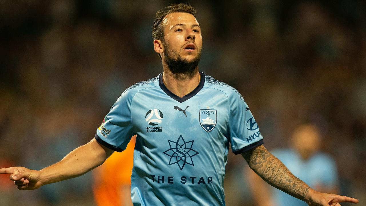 Sydney FC striker Adam Le Fondre celebrates scoring against Brisbane Roar on Saturday night. Picture: AAP