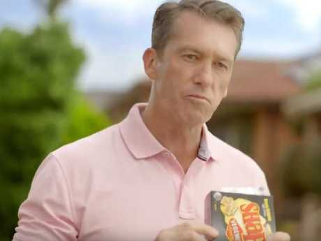Glemm McGrath also stars in the new TV ad for Arnott's new Vegemite and Cheese Shapes. Picture: Supplied