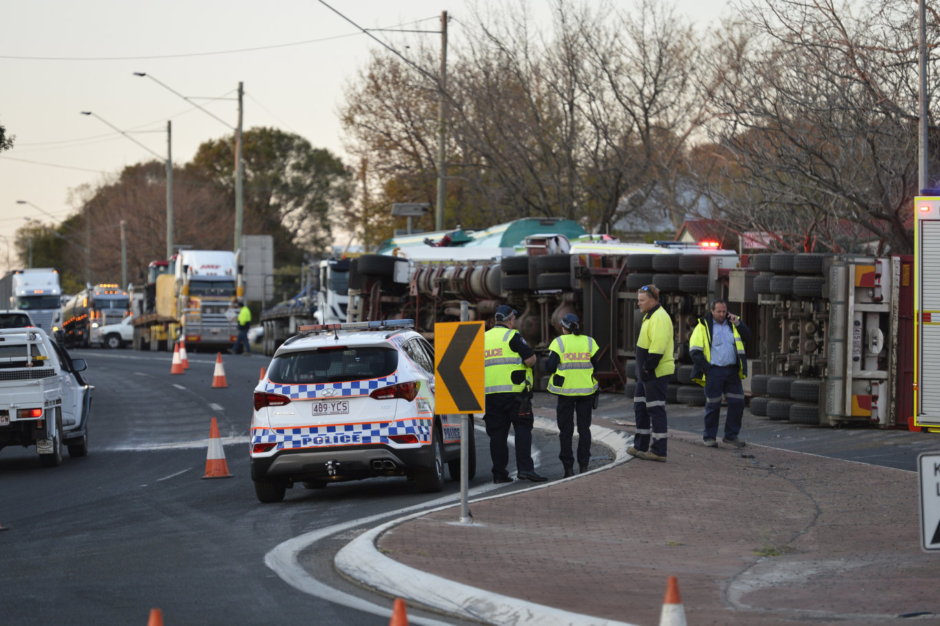 Emergency services at the scene of the Rangeville cattle truck rollover.