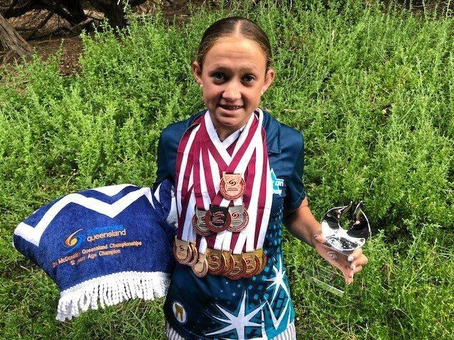 Rocky City's Taryn Roberts finished with 12 medals and was named Country Swimmer of the Meet at the 2018 Queensland Championships in Brisbane.