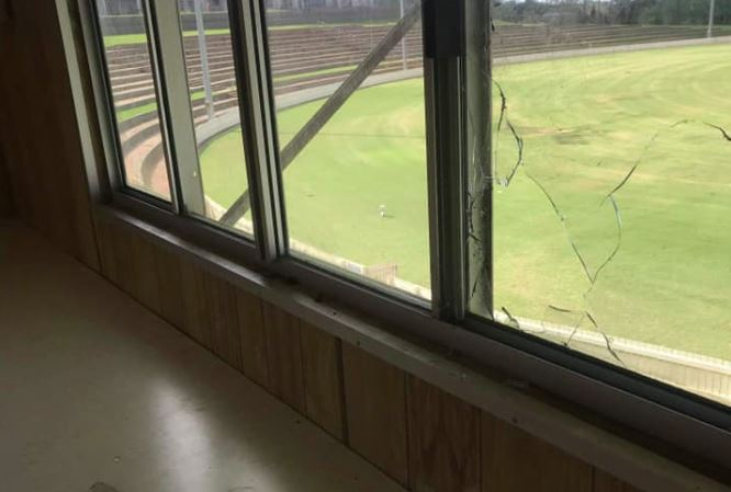 A smashed window at Heritage Oval, home of the South Toowoomba Bombers.