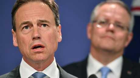 Health Minister Greg Hunt talked about the U = U campaign. Photo: AAP Image / Joel Carrett