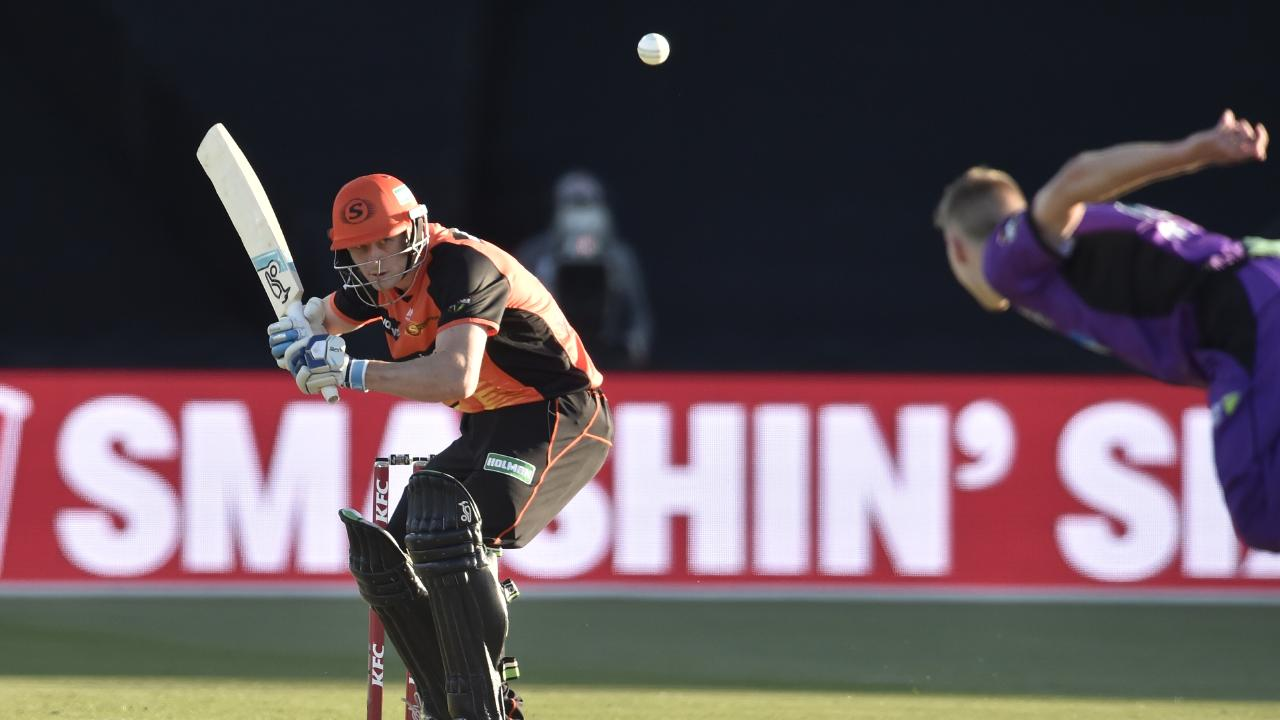 Cameron Bancroft bats during the Big Bash League match between the Hobart Hurricanes and the Perth Scorchers at UTAS Stadium in Launceston. Picture: AAP Image/Mathew Farrell