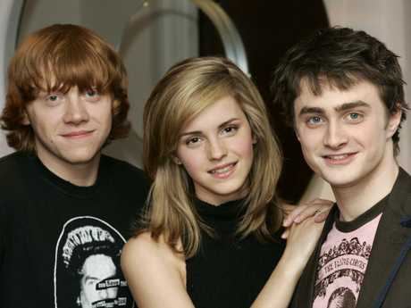 Rupert Grint, Emma Watson and Daniel Radcliffe promote Harry Potter and the Order of the Phoenix in 2007. Picture: AP Photo/Sang Tan