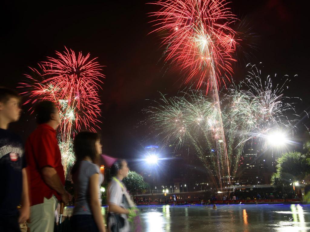 New Year's fireworks in Brisbane.