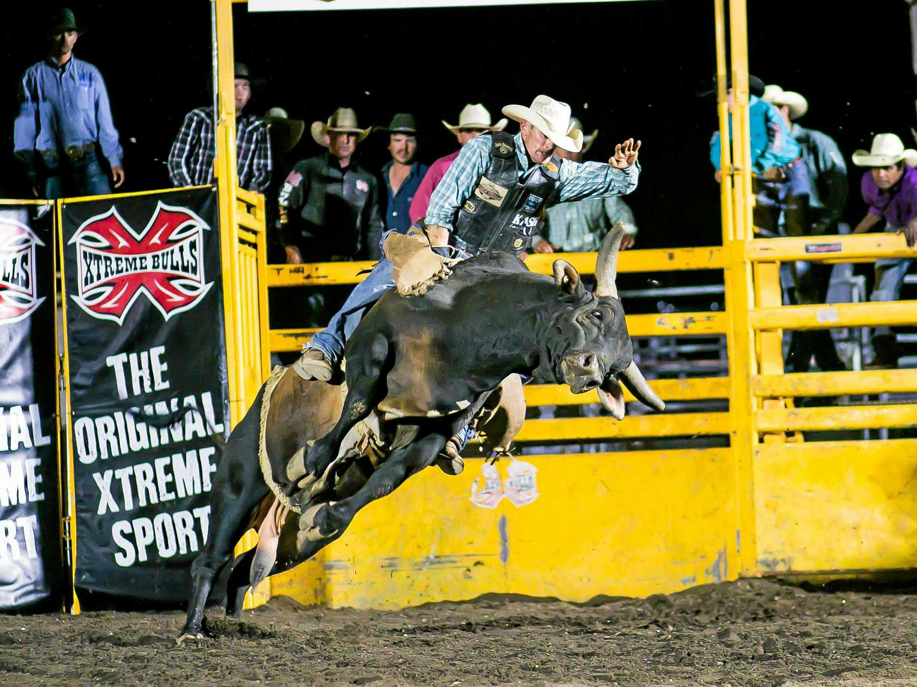 HIGH-FLYING ACTION: Champion bull rider Jason O'Hearn will start among the favourites at the Xtreme Bulls event at the Great Western Hotel tonight.