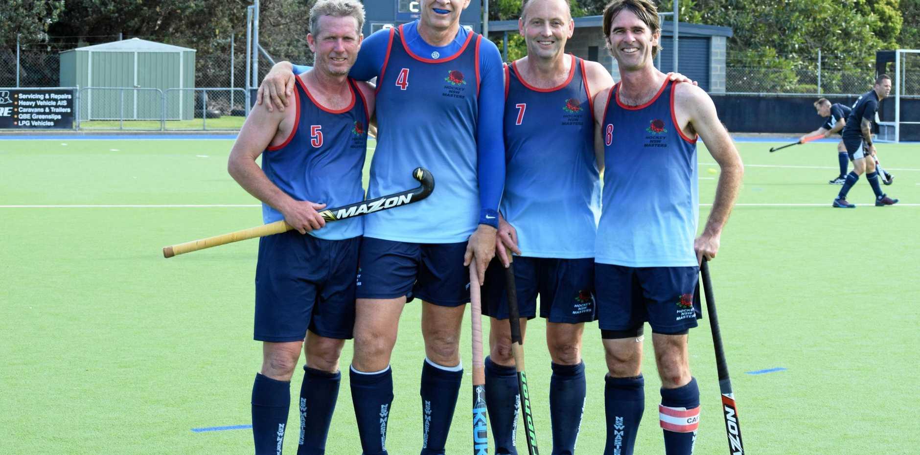 Far North Coast hockey players Mark Harris, Brett Crawford, Darryl Hughes and Grafton's Matt Lobsey are in the NSW over-40s team at the Australian hockey masters.