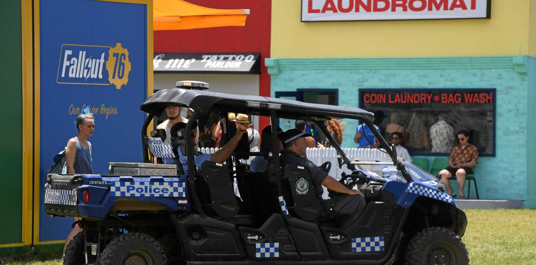 Police making sure the grounds at Falls Festival Byron Bay are safe.
