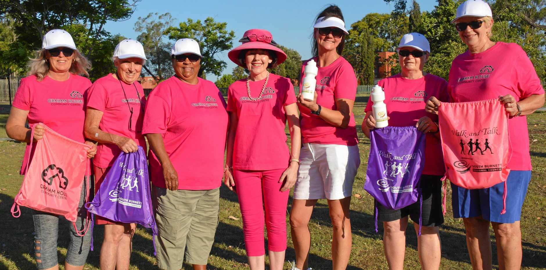 ACTIVE: Dot Sempf, Trish Seillor, Elizabeth Kennell, Kathy Duff, Iris Ferguson, Jan Ferguson and Lorainne Michel get active in the Walk and Talk group in Murgon.