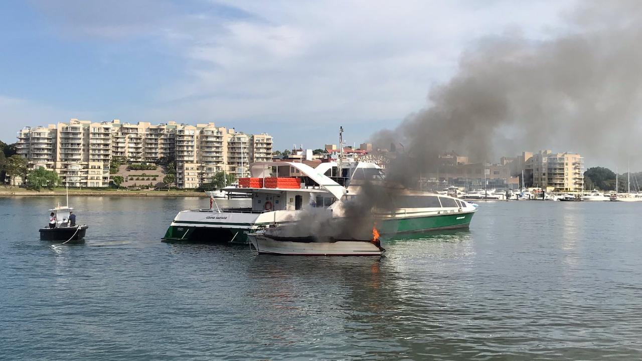 A 34-year-old man was seriously injured in a boat explosion near Drummoyne. Picture: Andrew Hill/Twitter @andrew_sf