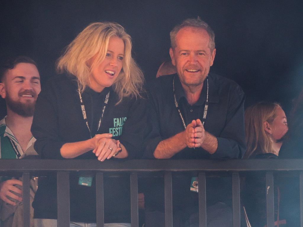 Bill and Chloe Shorten at the Falls Festival in Lorne, Victoria.