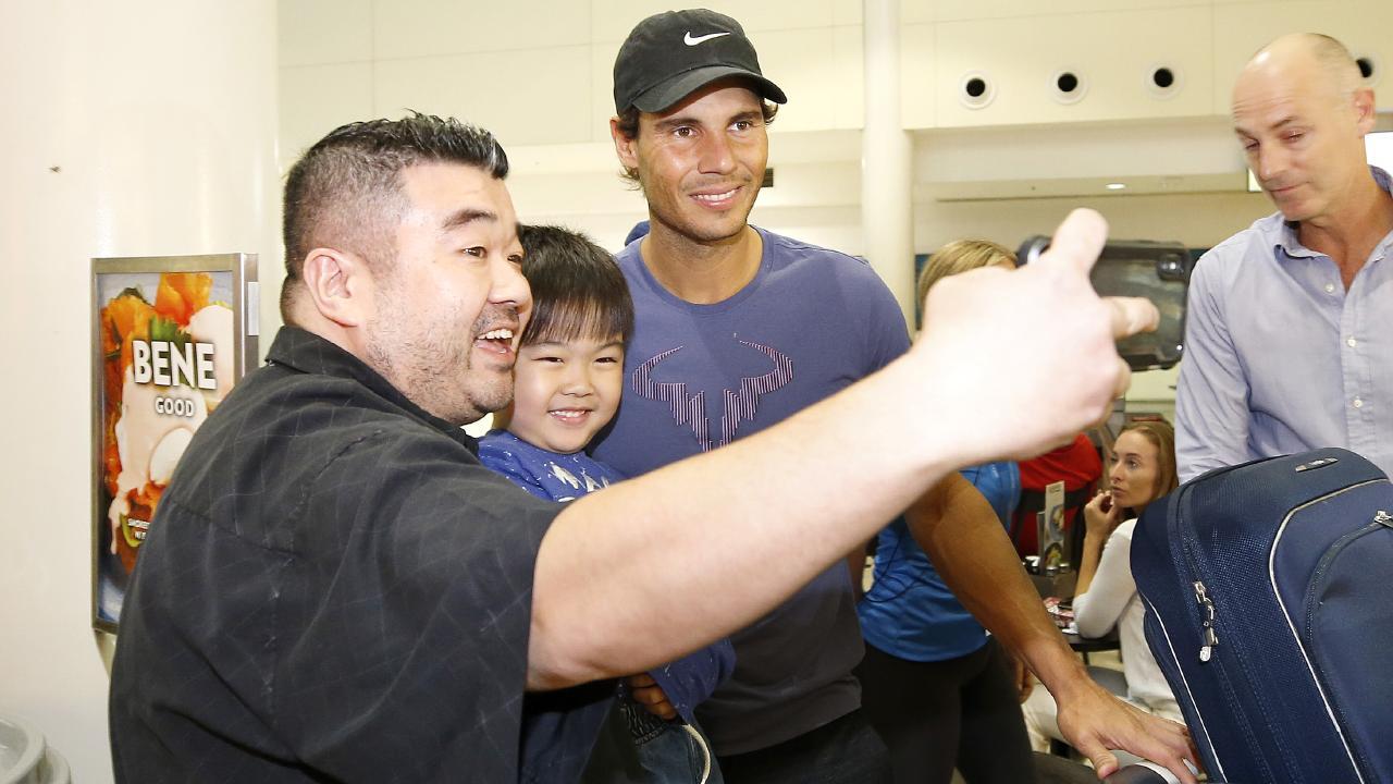 Rafael Nadal was a popular selfie target at Brisbane Airport.