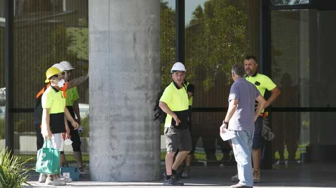 An army of tradies has been at the tower over the weekend. Picture: Tim Pascoe