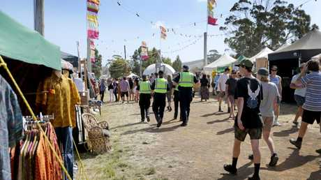 Police on patrol at the Marion Bay Falls Festival. Picture: Patrick Gee