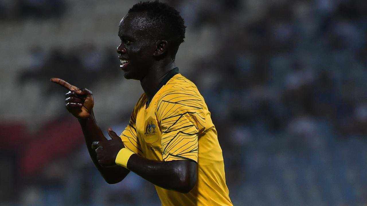 Awer Mabil got on the scoresheet in the rout of Oman.