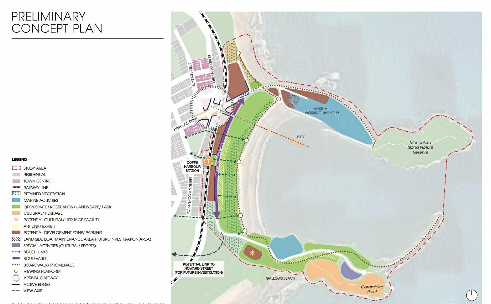The draft plan announced by the State Government mapping out future development on the Jetty Foreshores.