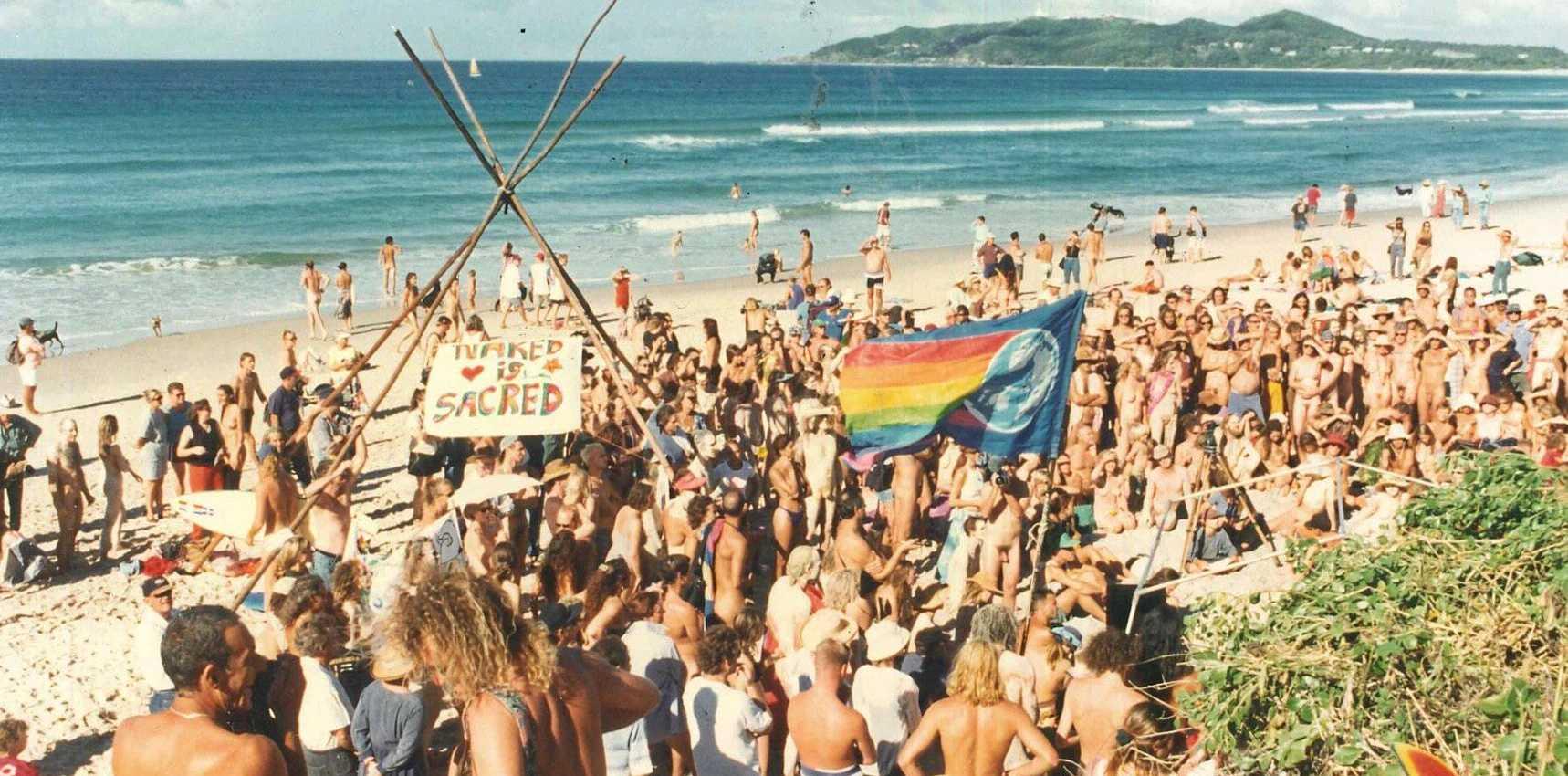 Getting it off. The Nude Ain't Rude rally on Belongil Beach. Photo Gary Chigwidden / Byron Shire News