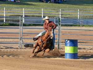 Rider rules barrels at the Warwick Showgrounds